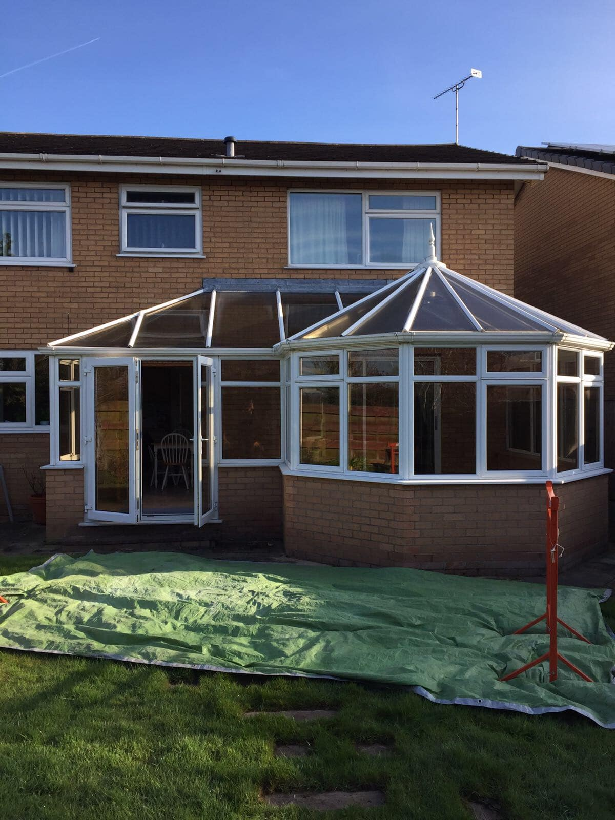 back of house conservatory with tressle on ground